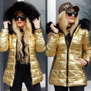 GLAM DOLLZ Reversible Metallic Gold & Fur Coat